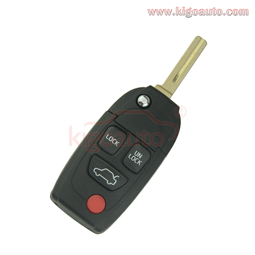 Refit flip remote key shell 4 button for Volvo S40 V70 C70
