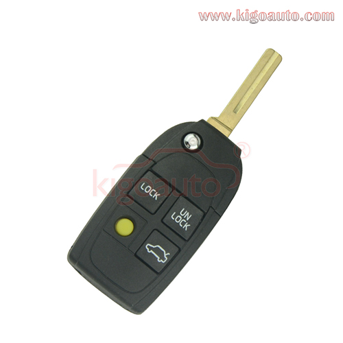 Refit flip remote key shell cover 4 button for Volvo S40 S60 S80 V40 V70 XC90