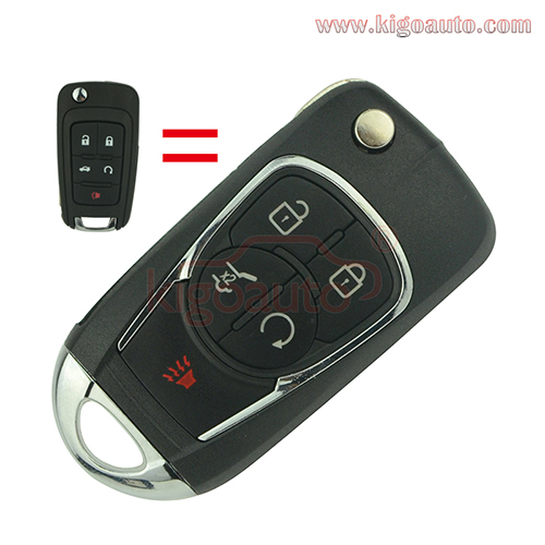 Refit key shell 4 button with panic for Chevrolet Buick flip key case