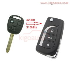 89070-42060 Refit flip key 3 button 315Mhz for Toyota