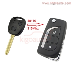 89070-48110 Refit flip key 2 button 315Mhz for Toyota