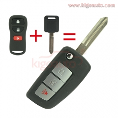 CWTWB1G767 refit Flip remote key 3 button for Nissan Rogue
