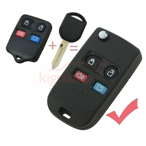 Modified key case 4 button for Ford refit flip key shell