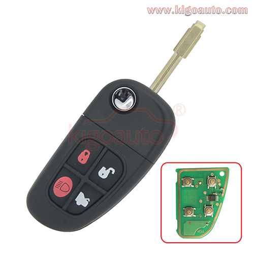 NHVWB1U241 flip key 4 button FO21 for Jaguar X S XJ XK TYPE 2002 2003 2004 2005 2006 2007 2008 1X43-15K801-BD