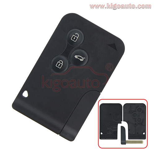 Smart key card case shell 3 button for Renault Megane II Megane 2 Scenic II Grand Scenic II 2003 2004 2005 2006 2007 2008