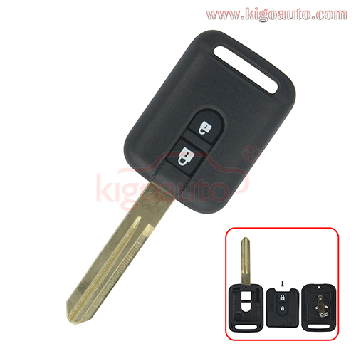 Remote key shell 2 button NSN14 for Nissan Micra Navara Almera Qashqai Patrol X-trail 2006-2012