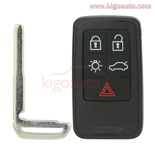 KR55WK49264 Smart key case shell cover 5 button for Volvo 2007 2008 2009 2010 2011 XC70 V70 XC60 ...