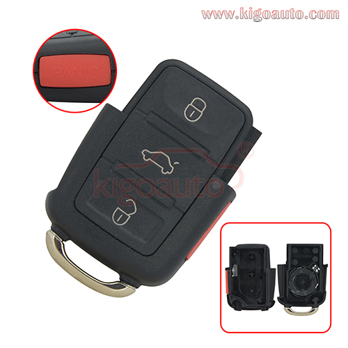 PN 1JO 959 753 T Remote key fob case 3 button+panic for VW Beetle Bora Golf  Jetta Passat 1998 1999 2000 2001