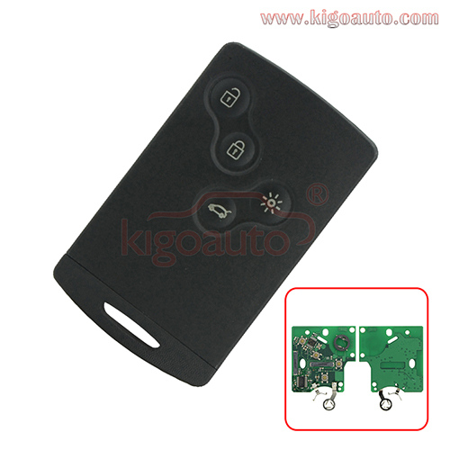 PN 285975779R Keyless Go Smart Card Key 4 button 433.9mhz PCF7952 for Renault Laguna III Megane III Scenic III