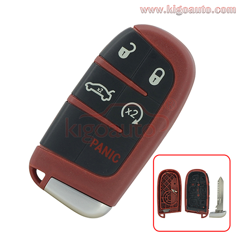 Red Smart key case 5 button for Dodge Charger Challenger Chrysler 300 M3N-40821302