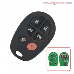 GQ43VT20T Remote fob 6 button 315mhz for Toyota Sienna 2005 2006 2007 2008 2009 89742-AE050