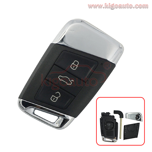 FCC 3G0959752 Smart key case 3 button for Volkswagen Passat B8 GOLF Arteon 2015 2016 2017 2018