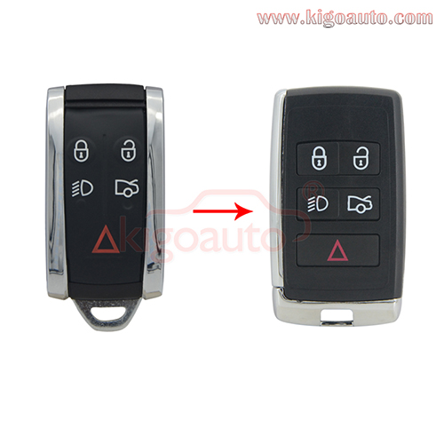 Modified key shell 5 button for refit Jaguar XF smart key cases