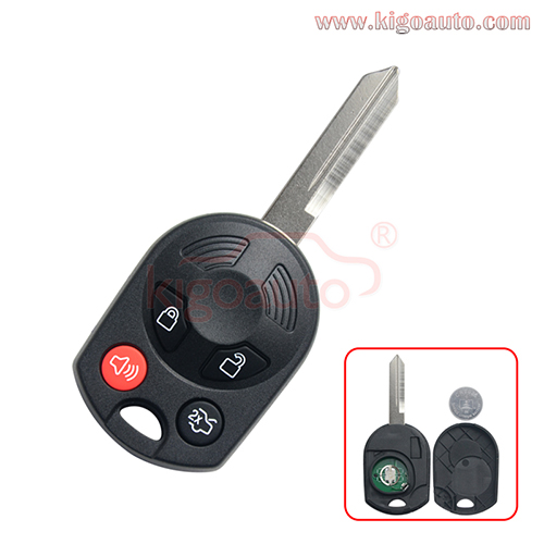 FCC OUCD6000022 Remote key 4 button 315Mhz  434MHz ID63 80bit chip FO38 blade  for Ford Mercury PN 164-R7013